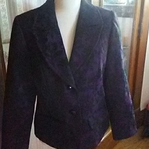 Studio 1940 Jackets & Blazers - Black & deep purple blazer jacket' medium'
